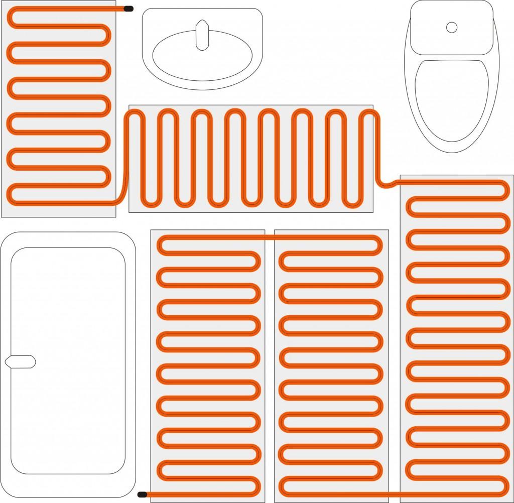Схема укладки нагревательного мата